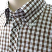 JTG Gingham Brown Short Sleeve