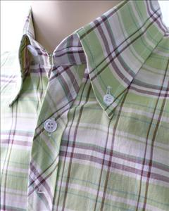 JTG Light Green check s/s