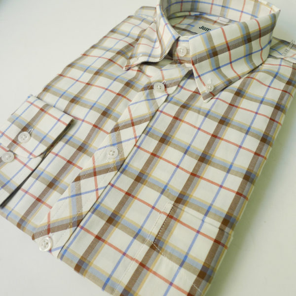 Ivory White multi Check 055 S/S