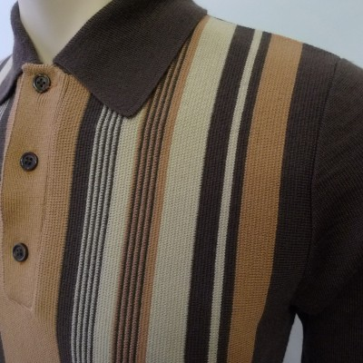 JTG Brown & Cream polo L/S