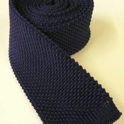 Mid - navy knitted tie