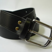 Black Leather belt -wide