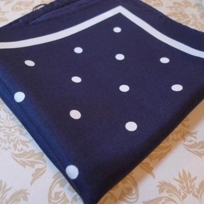Silk navy polka/boarder pocket square