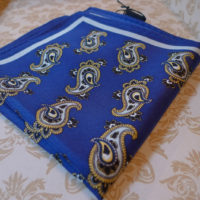 Silk Blue paisley pocket square