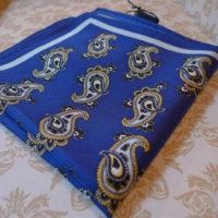 Silk Blue paisley pocket square