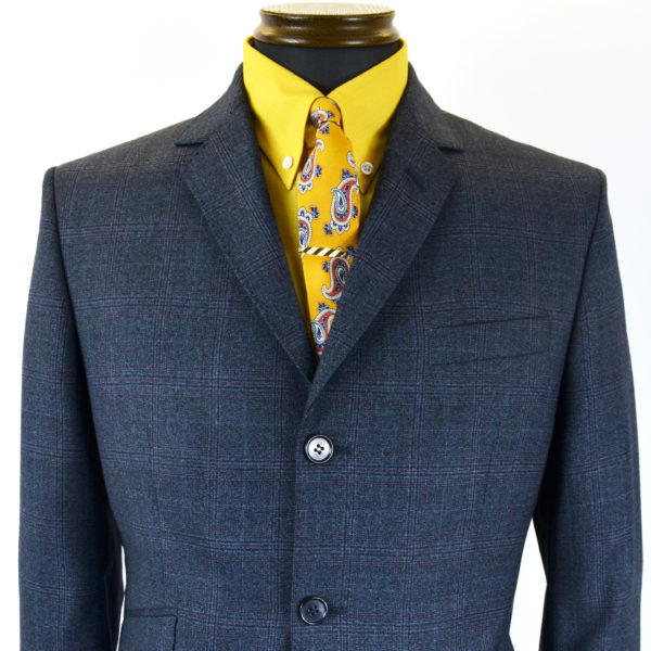 Navy check suit1